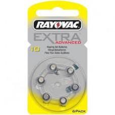 RV10  EXTRA   AUDIOL 1,4V  RAYOVAC BL. X 6