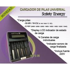 SEFE08 CARGADOR PILAS RECARGABLES PARA AA/ AAA/ C/ SC CON PANTALLA DIGITAL