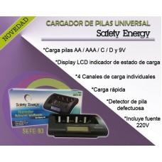 SEFE93 CARGADOR PILAS RECARGABLES PARA AA/ AAA/ C/ D/ 9V CON PANTALLA DIGITAL